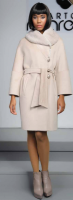 WOOL CASHMERE COAT WITH REX RABBIT  COLLAR
