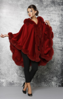 WOOL CASHMERE CAPE WITH  FOX COLLAR AND HOOD