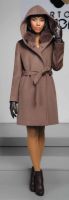 WOOL CASHMERE COAT WITH BLUE FOX  COLLAR