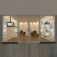 A3 Double Sided Estate Agent Office Window LED Acrylic Poster Frame Display Light Boxes Cable Hanging Kits System