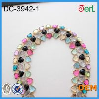 Heartshape Custom Color Resin Stone Strass Chain Trimming