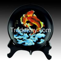 Gold Wire Black Pottery ceramic porcelain plate fish