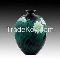 .Lacquer Painting Black Pottery ceramic porcelain vase lotu