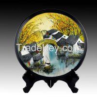 2.Lacquer Painting Black Pottery ceramic porcelain plate landscape