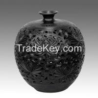 Traditional handmade Black Pottery ceramic Chrysanthemum pot