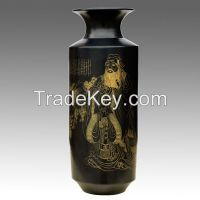 2.Figure SketchBlack Pottery ceramic porcelain vase  Confucius