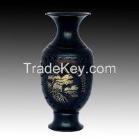Soft and hard carving black pottery ceramic porcelain vase landscape