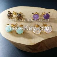 24k gold plated natural gemstone stud earrings