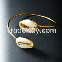 Fashion double Cowrie shell bracelets in 24k gold plated
