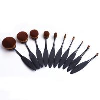 10pcs New arrivals oval makeup brush plastic handle rose gold toothbrush make up brush set with quality carton box
