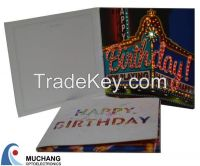 music and lighting up artificial greeting card