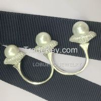 925 Sterling Silver Double Finger Ring with natural pearl
