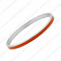 Skinny 5mm orange enamel bangle