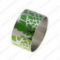 Wide green enamel bangle for women