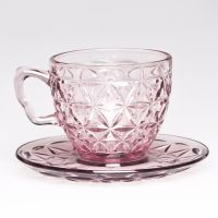 glassware supplier of girls fancy glass cute coffee cup with tray, glass tea cups and saucer