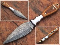 Details about  Combat Hunting Fixed Blade Tactical Knife Double Edge Dagger with wooden handle
