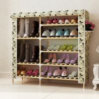 Latest Design Modern Simple Wooden Shoe Cabine convenient non-woven fabric shoe cabinet