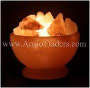 "Fancy Fire Bowl Shape Salt Lamp - 6"" with chunks & Salt Base Design"