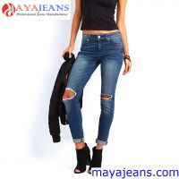 Women's Blue Denim Stretch Jeans Destroy Skinny Ripped Distressed Pants Maya Garment Co., Limited