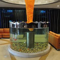 customerized clear PMMA large size round acrylic fish tank for home hotel decoration