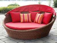 Resin Wicker Rattan Round Sun Loungers with Canopy - Patio Sunbed with Canopy Outdoor Furnitur