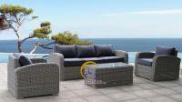 Poly PE Wicker Rattan Living Sofa Set - Synthetic resin patio Garden rattan Sofa Set General Use Outdoor Furniture