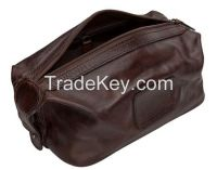 Vintage Men smooth rich leather travel cosmetic bag Shaving kit Bag/me