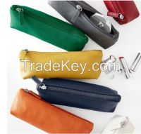 wholesale leather travel cosmetic zipper case bag makeup case/leather