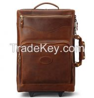Carry on genuine leather trolley bag luggage/leather trolley bag/genui