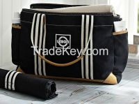 LEBON Black Classic Pure Cotton Twill Mom Diaper Bags With PU Trim/dia