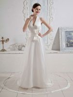 High quality beautiful lace luxurious 2016 halter wedding dress with bridal veil