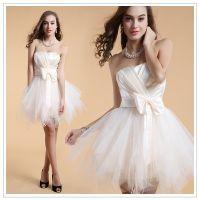 High quality beautiful lace luxurious 2016mini wedding dress with bridal veil