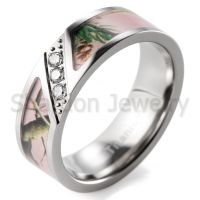 Men's 7mm Pink Branches Camo Titanium Ring Diagonal Grooved Design with 3 CZ Stones Inlay