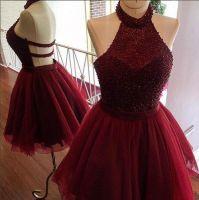 Burgundy homecoming dress,a line homecoming dress,halter party dress,beading short prom dress,women homecoming dress