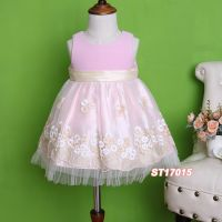 Pink Satin Light Veil Cute Fashionable Embroidery Flower Girl Part Dress Wear for Spring 2017