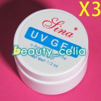 3 X Clear Professional Nail Art UV Builder Gel Base Top Coat Polish Tips Kit