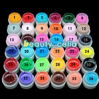 1/36Pc Solid Pure Mix Color UV Gel Acrylic Set Builder Polish Nail Art Decor Kit