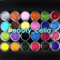 24 Color Jumbo Metal Shiny Fine Glitter Nail Art Kit Acrylic UV Powder Tips Kit