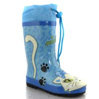 Cute cat pattern kids rubber rain boots