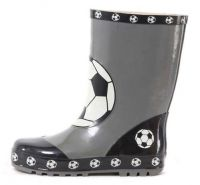 Children football printed rubebr rain boots