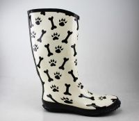 New Fashion printing bone and dog's paw chic rubber boots for ladies