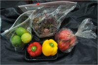 plastic bags, fruit bags, vegetable bags, produce bags, grape bags, cherry bags, food bags, pouch, stand-up pouches, reclosable bags, zipper bags, slider bags
