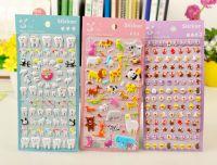 Wholesale professional custom design kids cute glitter adhesive 3D bubble foam cartoon puffy sticker