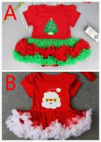 2017 Christmas Rompers Tutu Dresses For Babies Xmas Bodysuits + Hair band TUTU Dress Baby Cotton Rompers Infants Toddlers Clothes Tutu Dress
