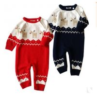 2017 Christmas Bodysuits Jumpsuits For Baby Xmas Deer Rompers Newborn Babie Woollen Jumpsuits Infants Toddlers Bodysuits Rompers For 0-2T