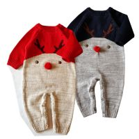 2017 Christmas Xmas Wool Jumpsuits For Baby Newborn Christmas Deer Woollen Bodysuits Rompers Infants Toddlers Warm Sweaters Rompers For 0-2T