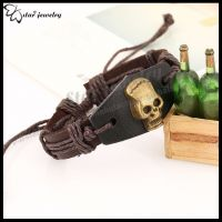 Skulls Brown Genuine Leather Bracelet with Metal Links & Adjustable Stud Fastening