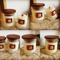 Scented Soy Candles in Glass Jar with wooden wicks and wooden lids
