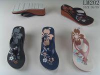 Cheap wholesale custom brand wedge flip flops women beach eva slippers