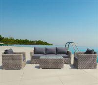 Luxury outdoor furniture hotel use round rattan garden sofa set